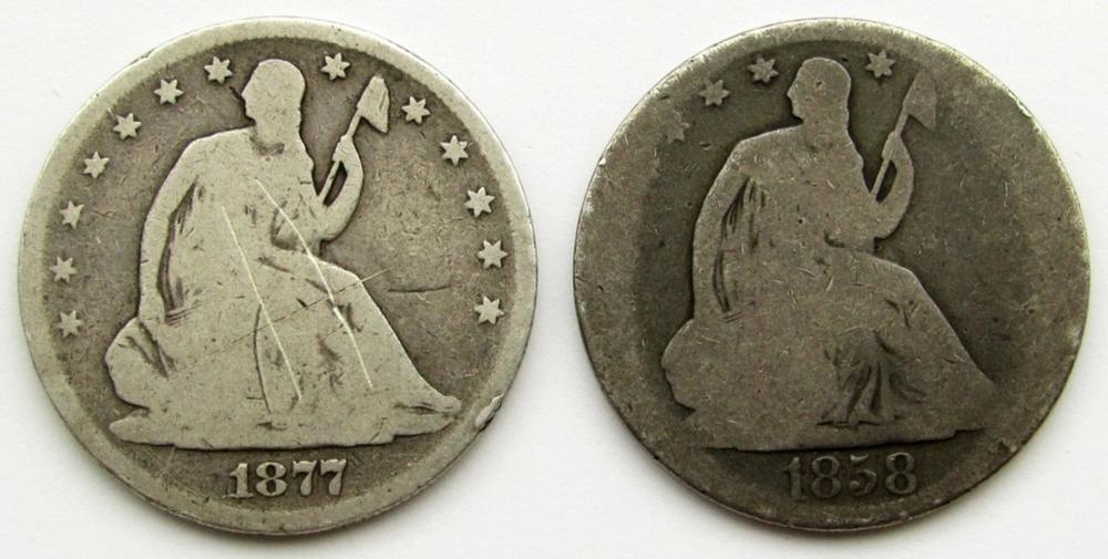 1858-O & 1877 SEATED HALF DOLLARS