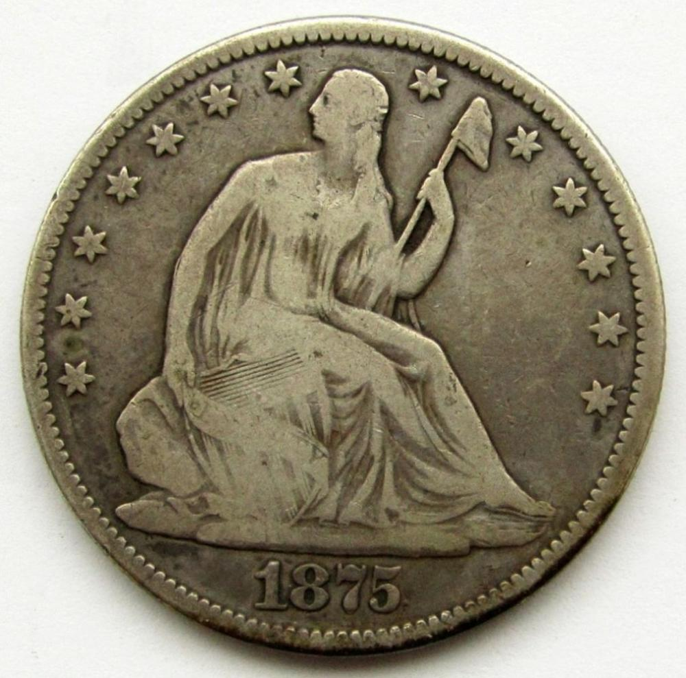 1875 SEATED HALF DOLLAR VG