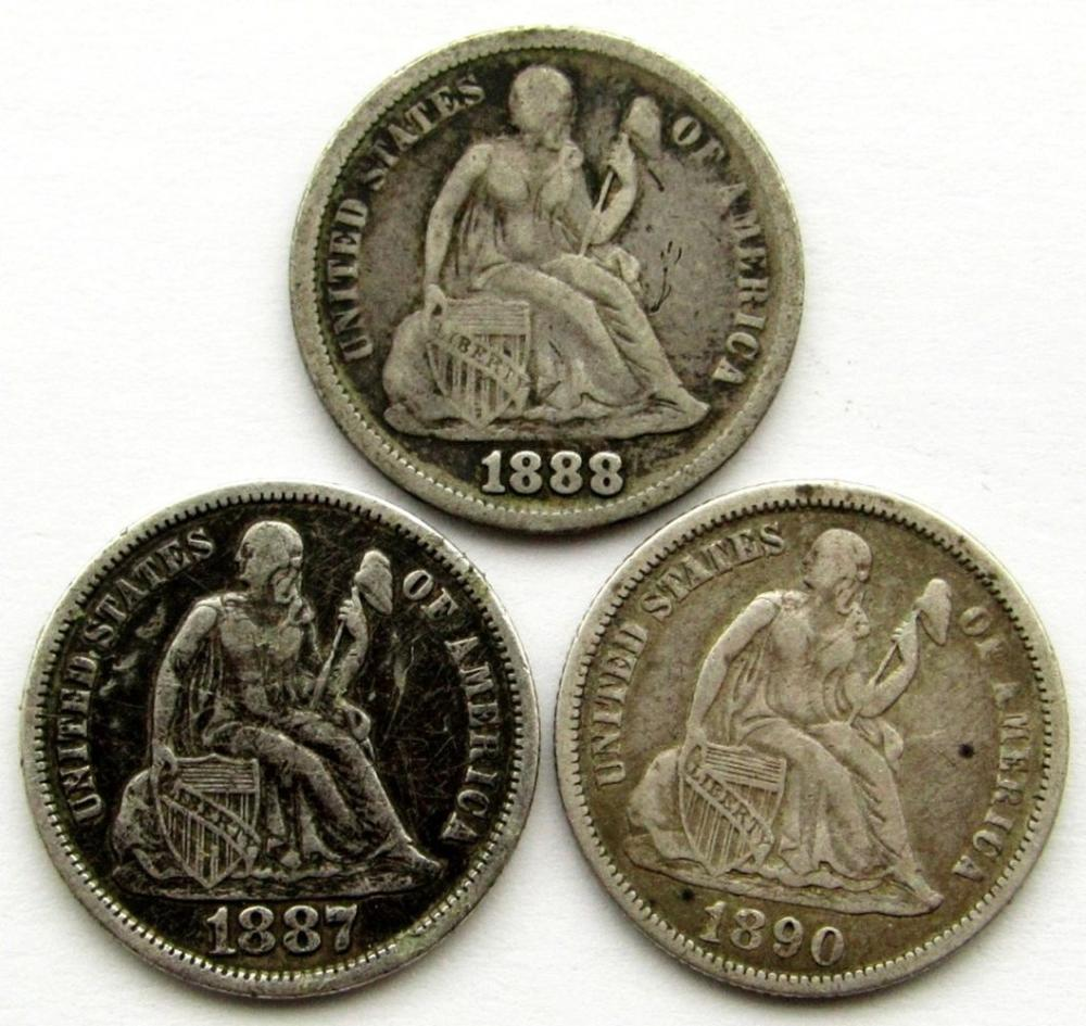 1887-S, 1888, 1890 SEATED DIMES
