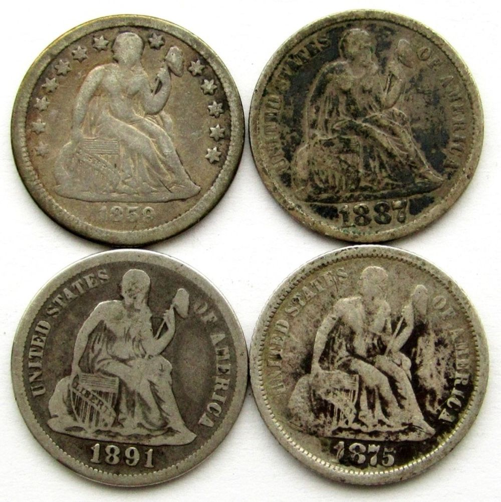 4-SEATED DIMES (VG): 1859, 1875-S,