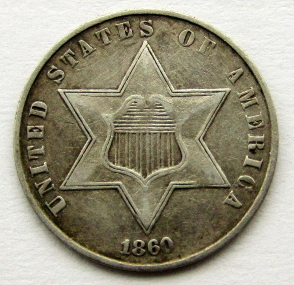 1860 THREE CENT SILVER XF/AU