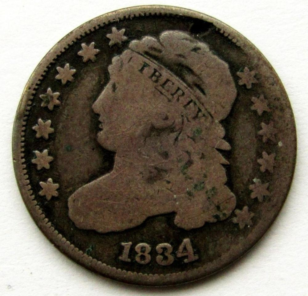 1834 CAPPED BUST DIME VG/GOOD