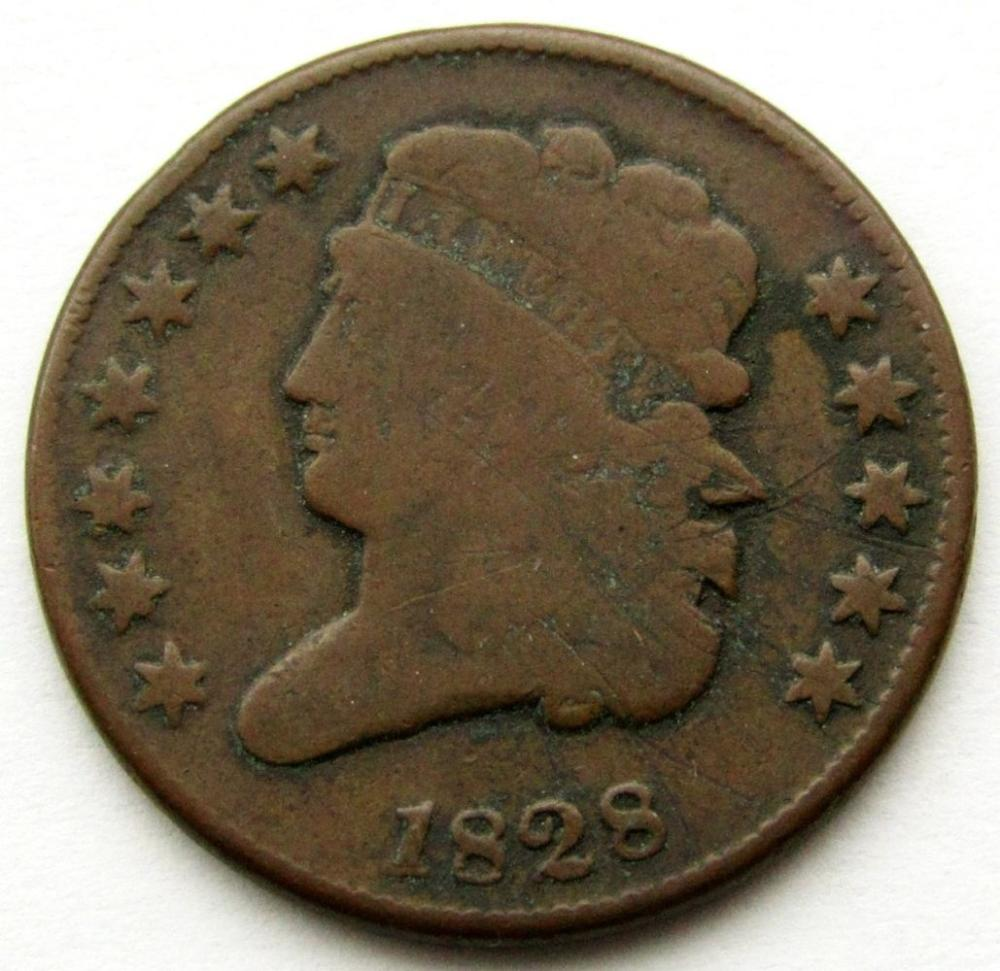 1828 CLASSIC HALF CENT VG