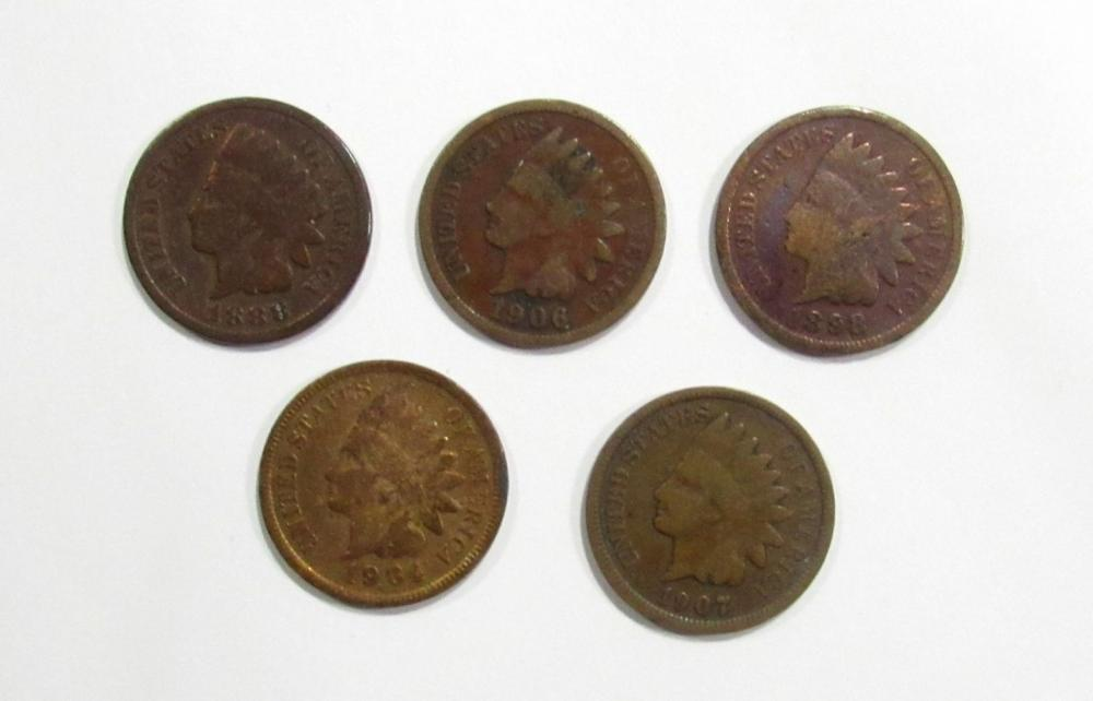 5-INDIAN CENTS GOOD/VG: