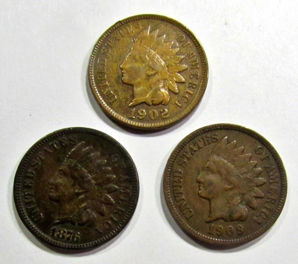 1876, 1902, 1909 INDIAN CENTS FINE