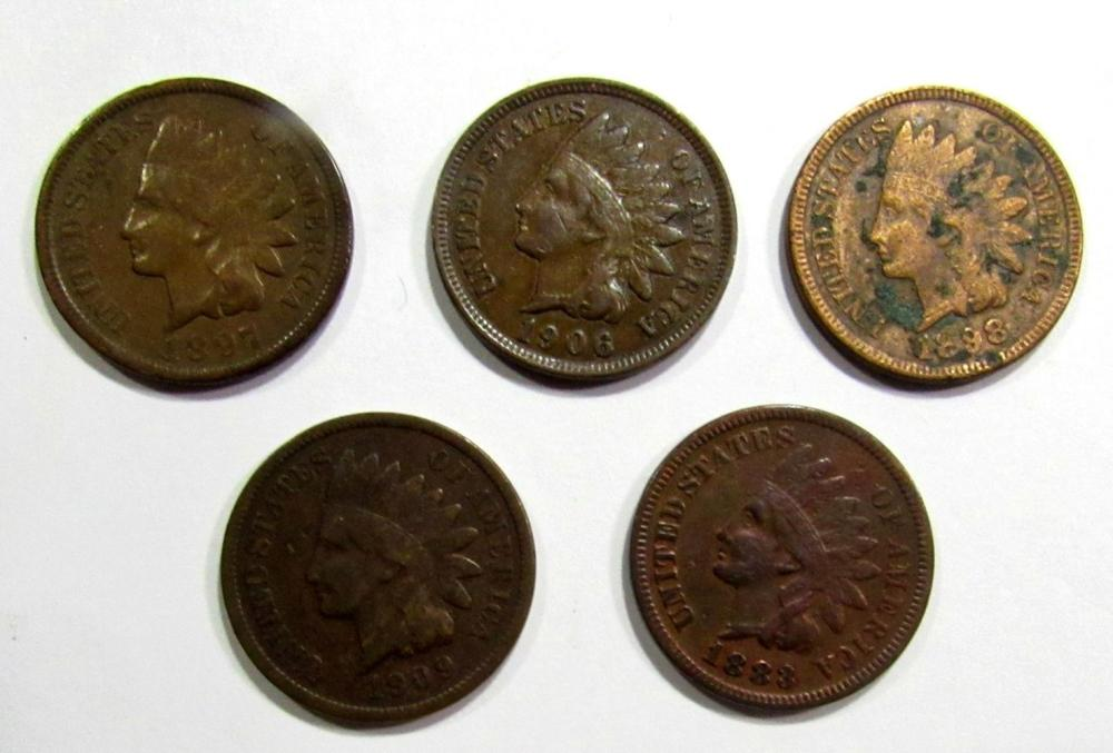 1888, 1898, 1906, 1897, 1909 INDIAN CENTS