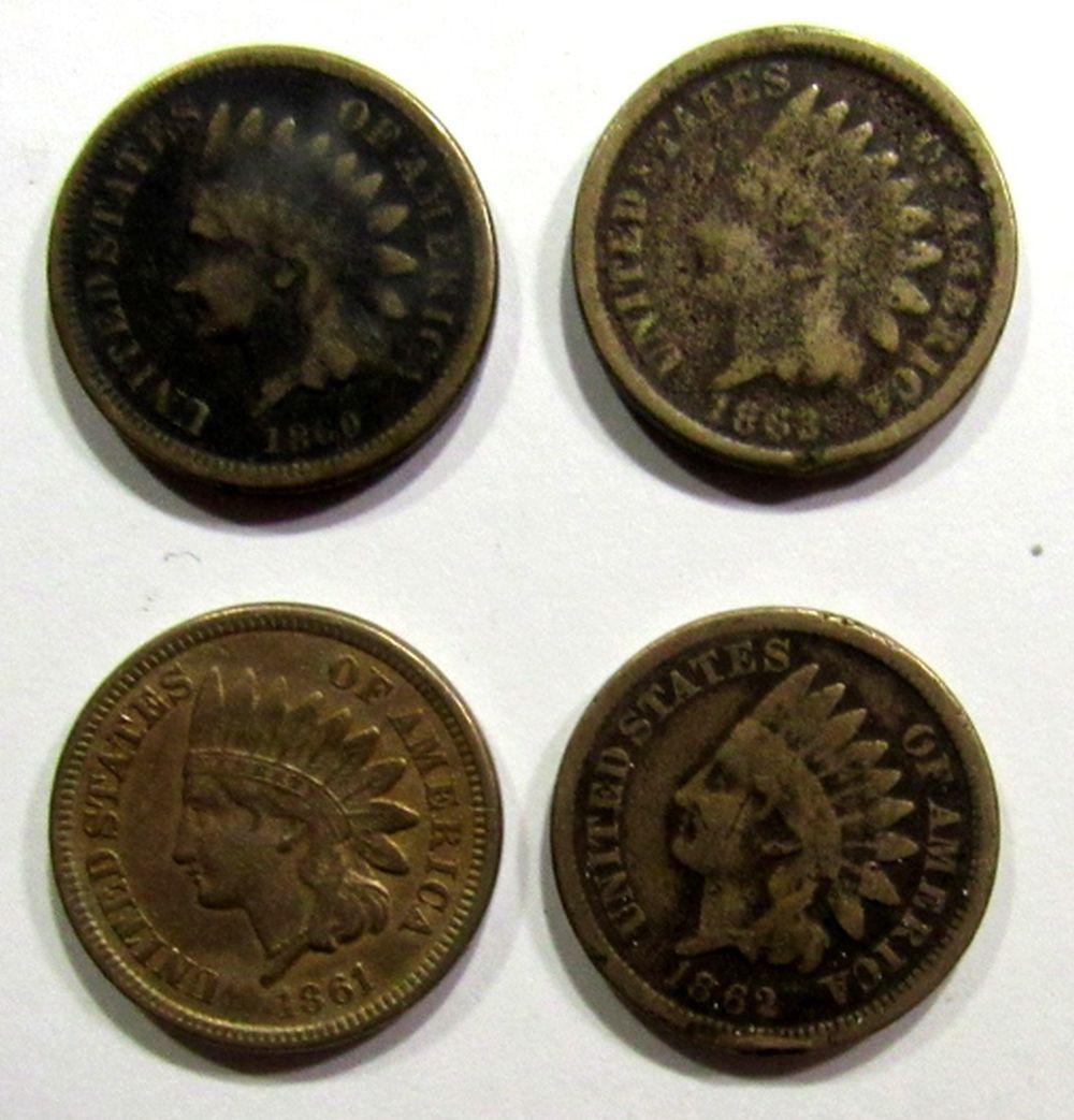 1860 GOOD, 1861 VF, 1862 VG, 1863 AG