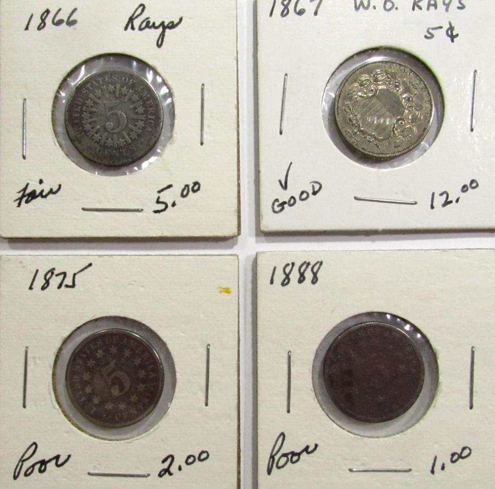 4-SHEILD NICKELS; 1866 RAYS, 1867 NO RAYS,