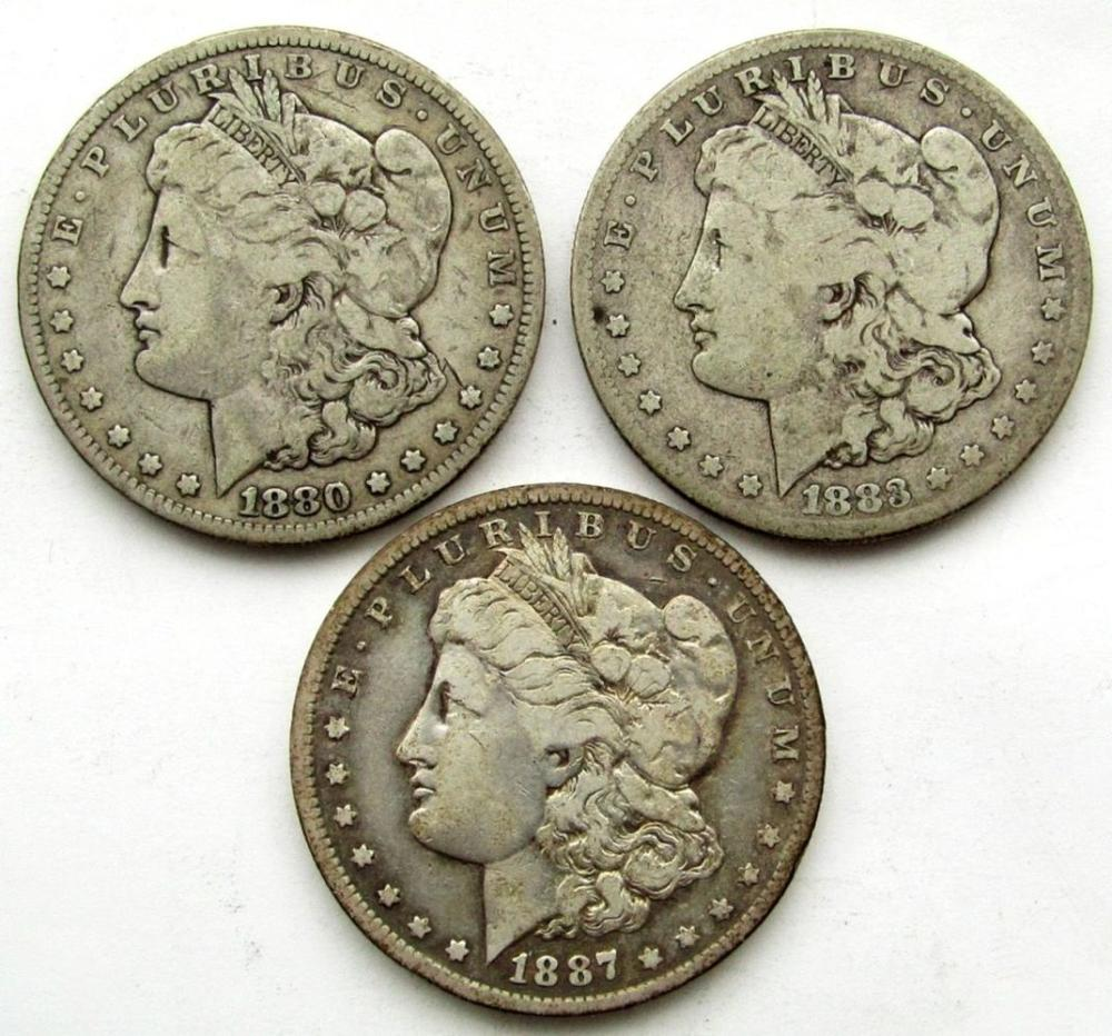 3 - CIRC OR BETTER SILVER DOLLARS;