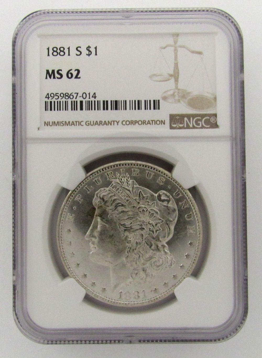 1881-S Morgan Silver Dollar $ NGC MS 62