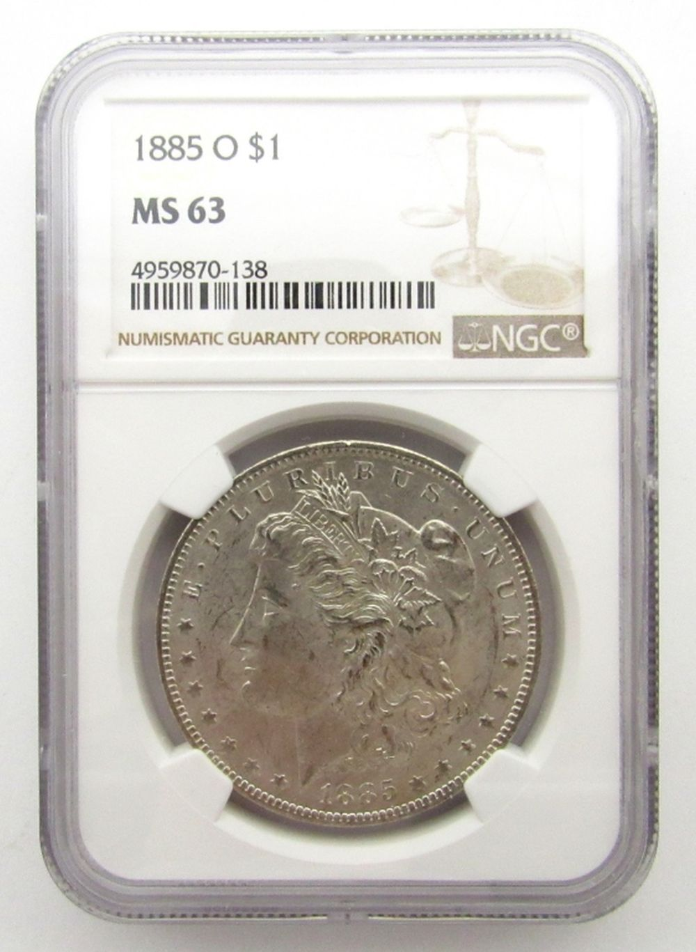 1885-O Morgan Silver Dollar $ NGC MS 63