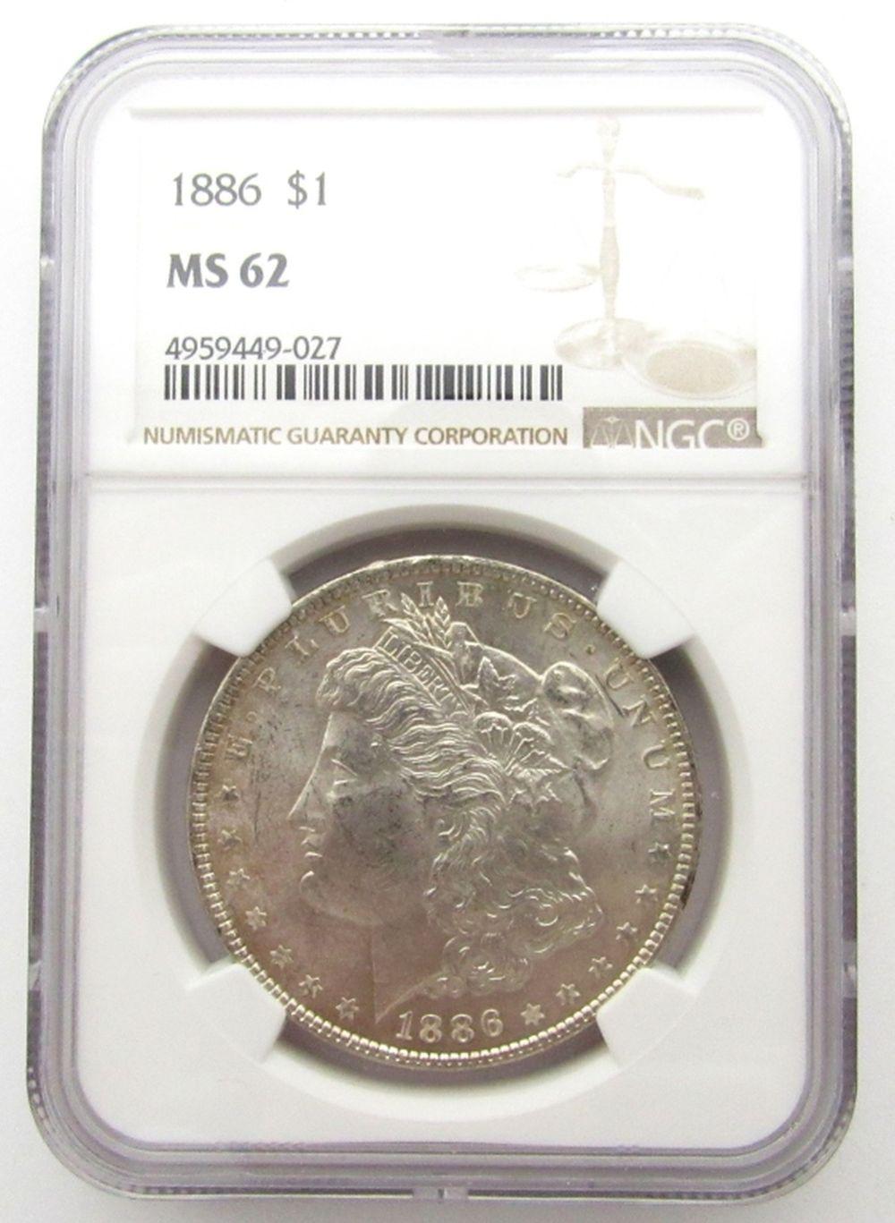 1886-P Morgan Silver Dollar $ NGC MS 62