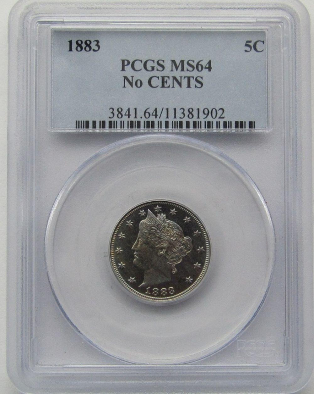 1883 LIBERTY V NICKEL PCGS MS 64