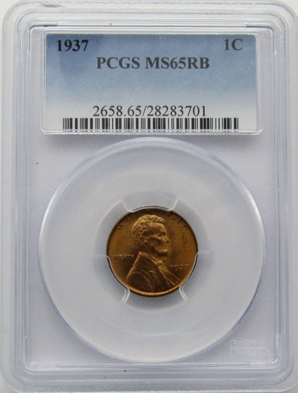 1937 LINCOLN CENT PCGS MS 65 RB