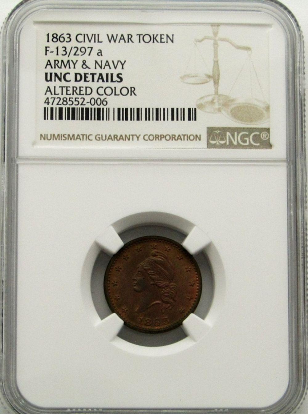 1863 CIVIL WAR TOKEN NGC UNC DETAILS