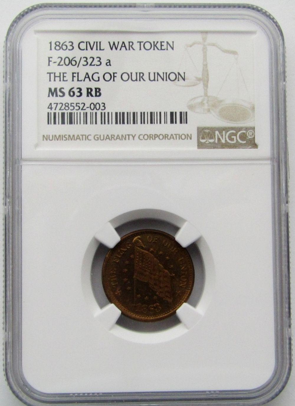 1863 CIVIL WAR TOKEN NGC MS 63 RB