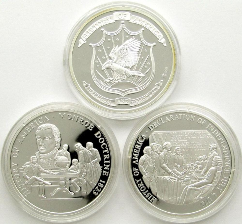 3-AMERICAN MINT 20g .999 SILVER PF ROUNDS