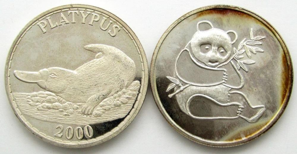 PLATYPUS & PANDA 1oz .999 SILVER ROUNDS