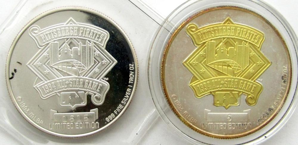2-PITTSBURGH PIRATES 1oz .999 SILVER ROUNDS