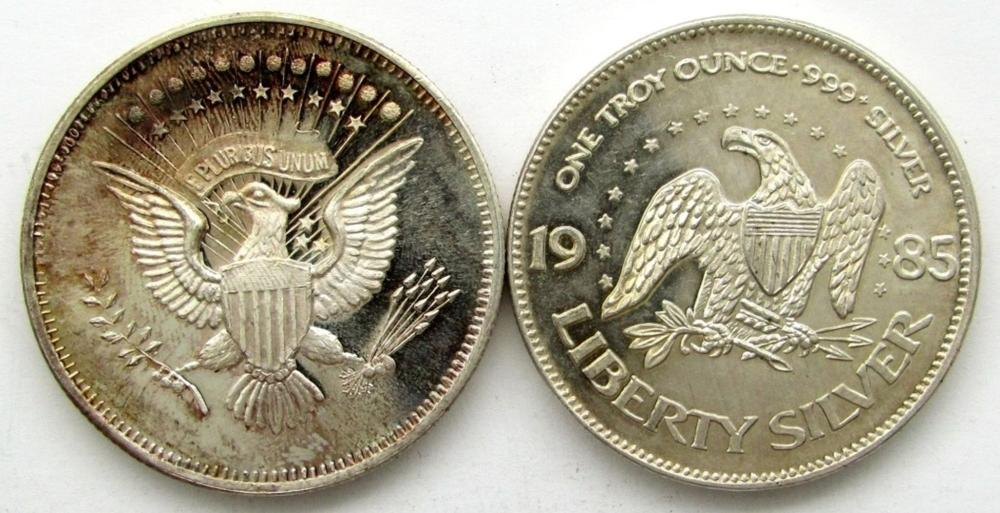 2-.999 SILVER ROUNDS-LIBERTY BELL & EAGLE