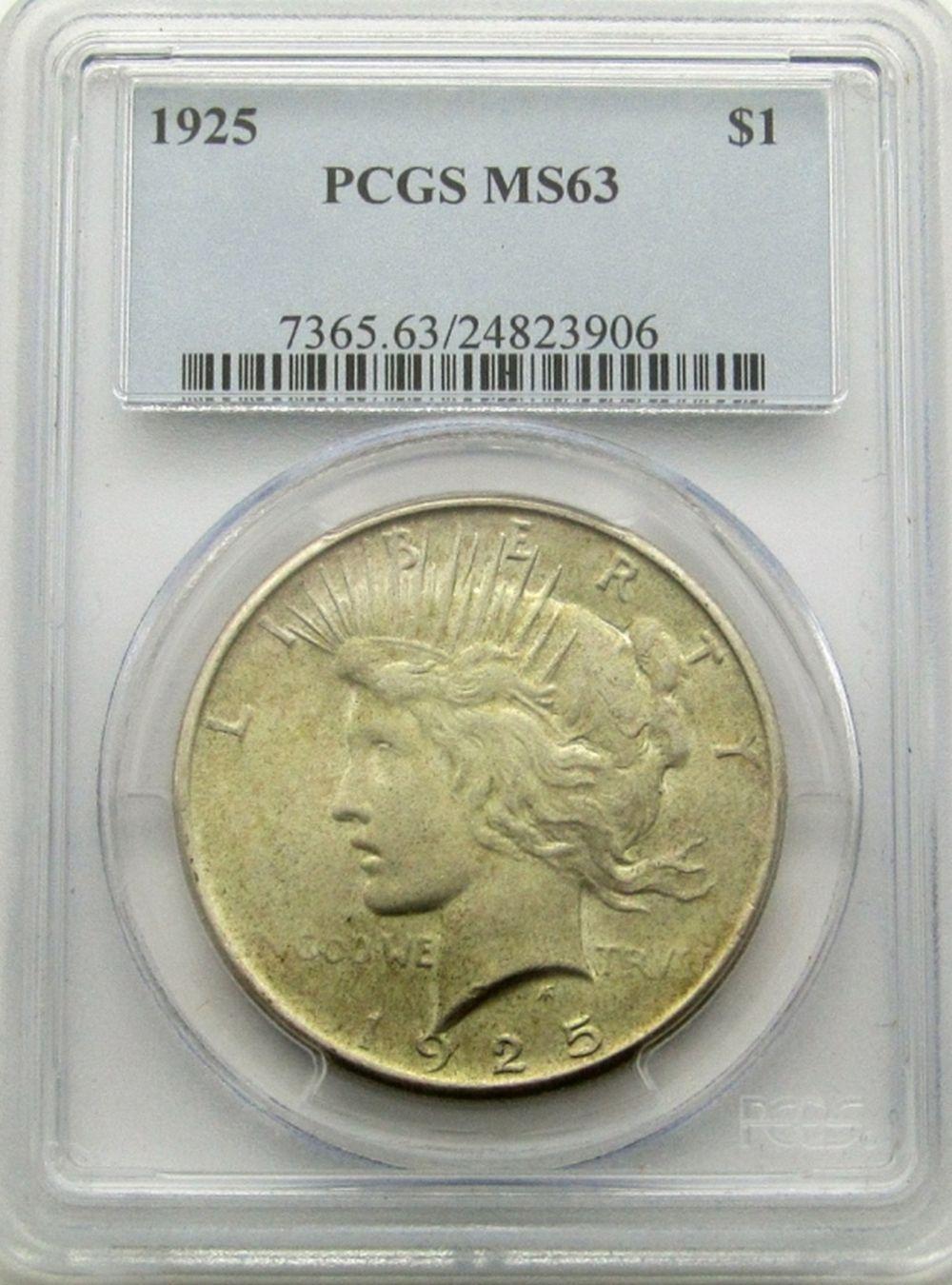 1925 PEACE DOLLAR PCGS MS63