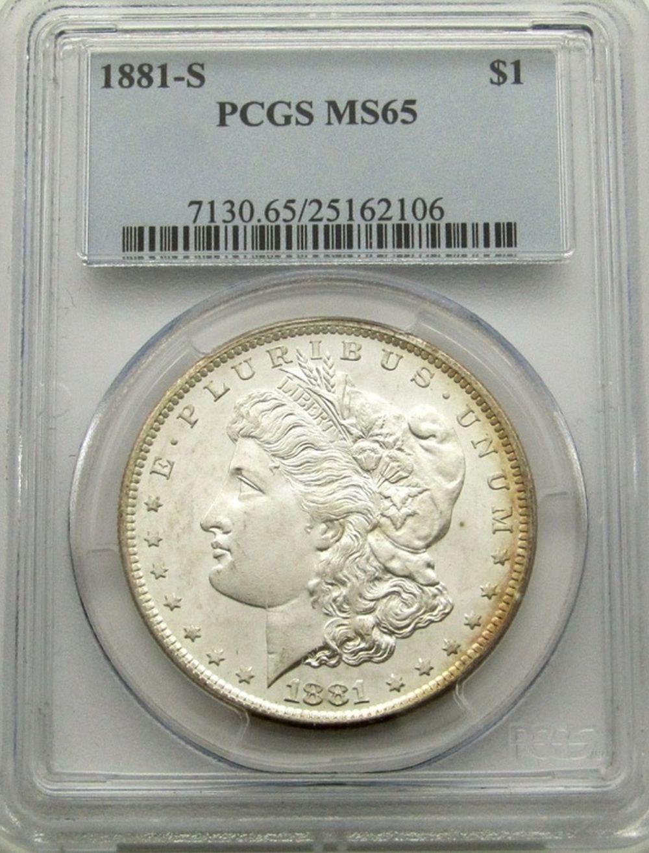 1881-S MORGAN DOLLAR PCGS MS65