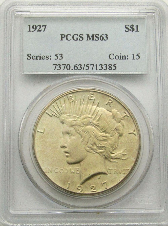 1927 PEACE DOLLAR PCGS MS63