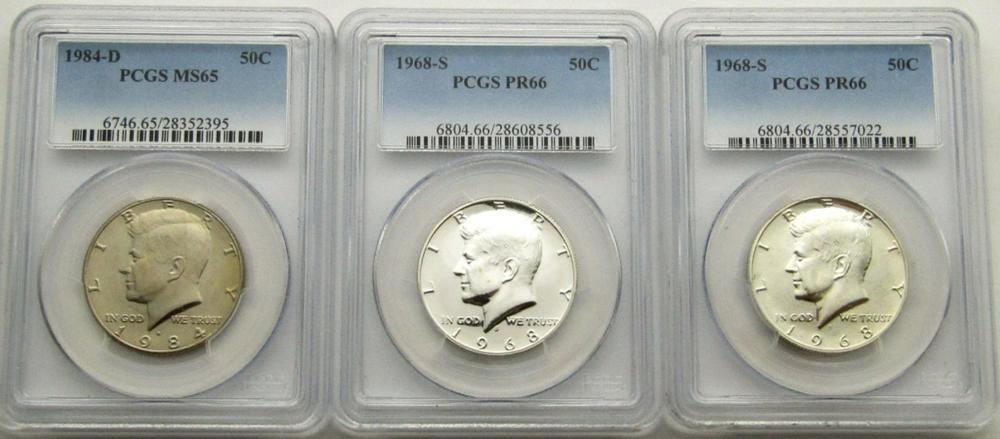 3-PCGS GRADED KENNEDY HALF DOLLARS