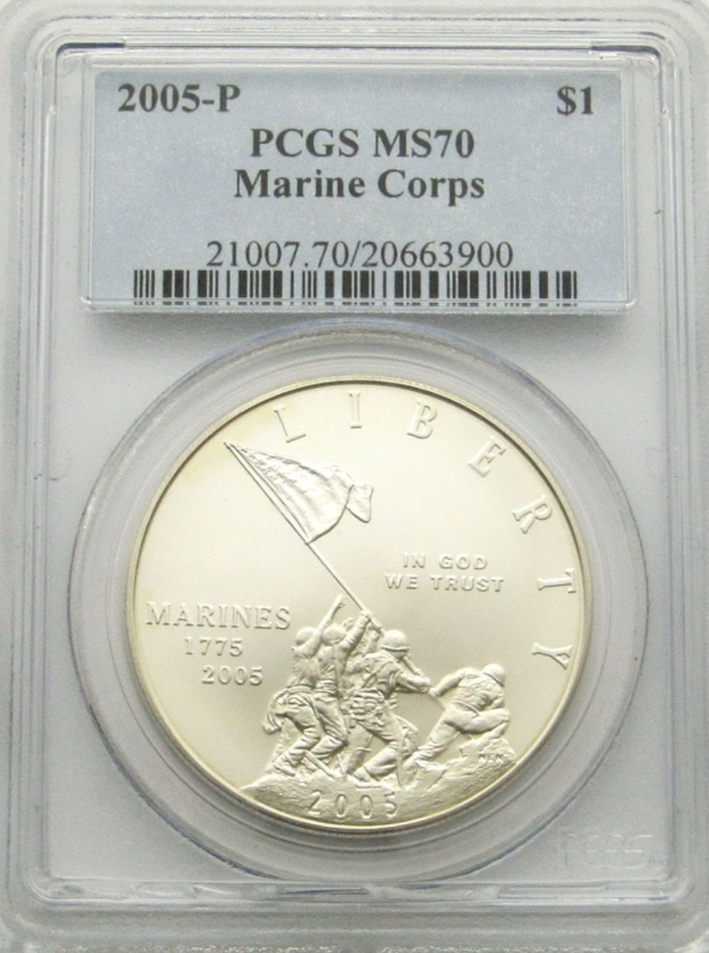 2005-P MARINE CORPS SILVER DOLLAR PCGS