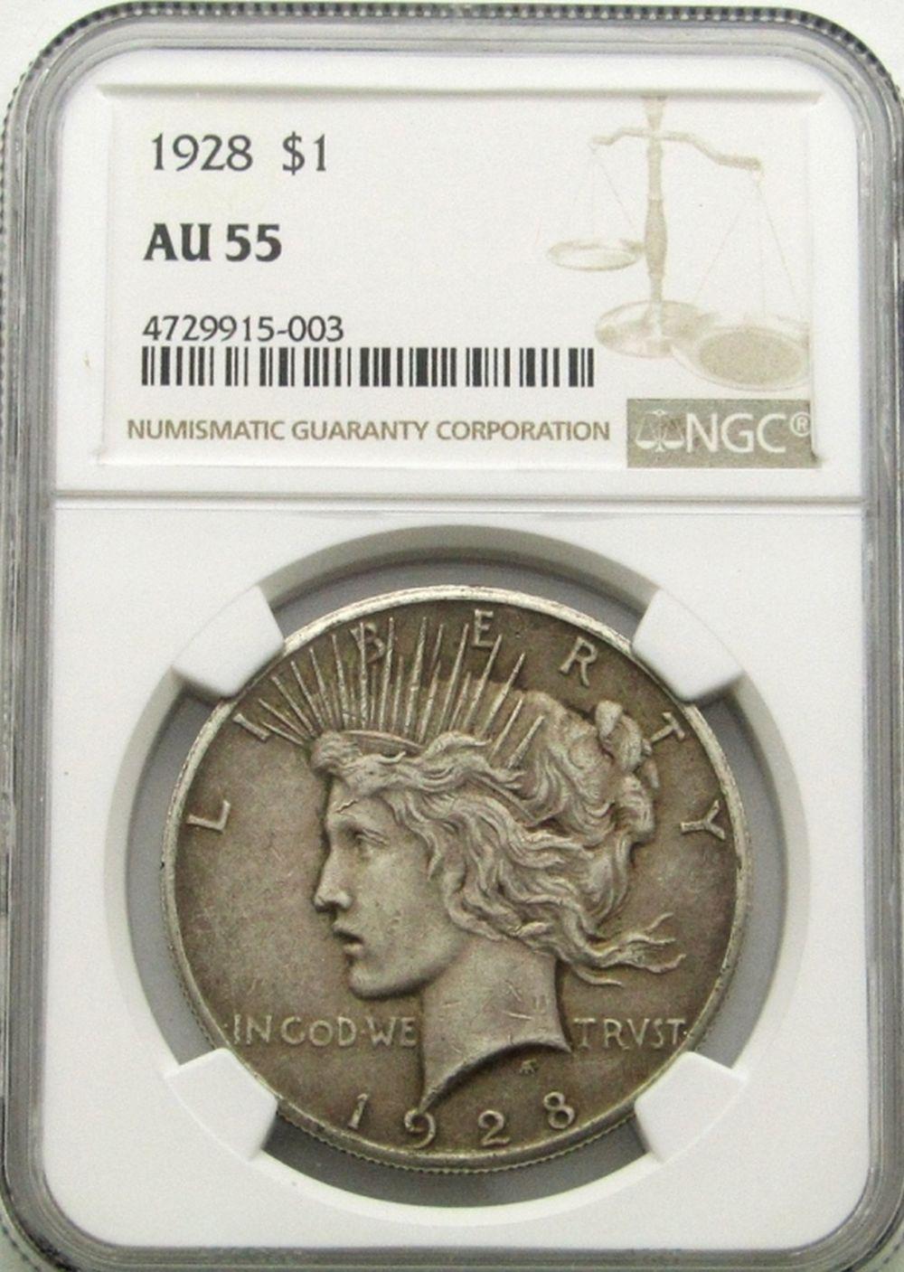 1928 PEACE DOLLAR NGC AU55