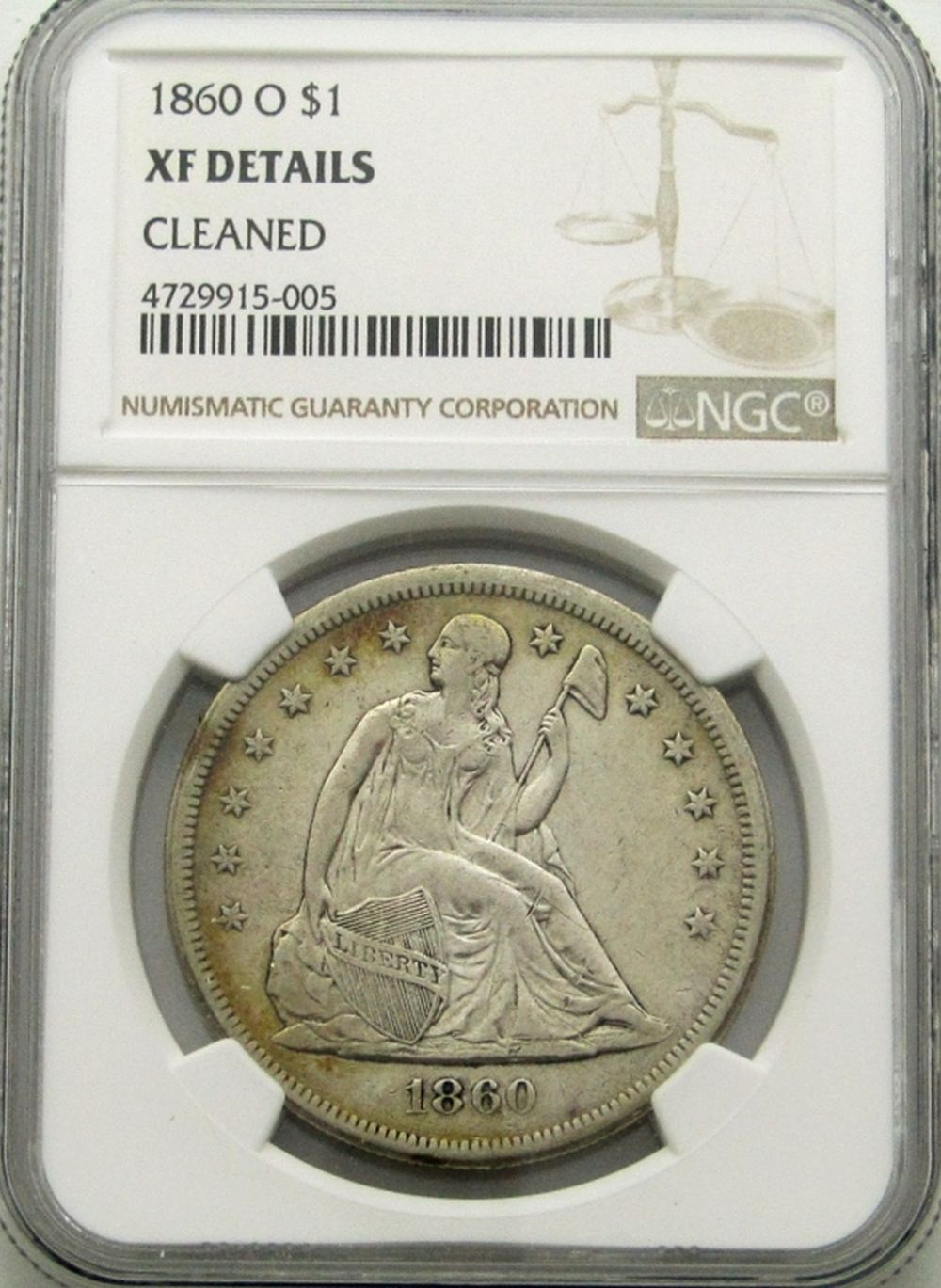 1860-O SEATED DOLLAR NGC XF DETAILS