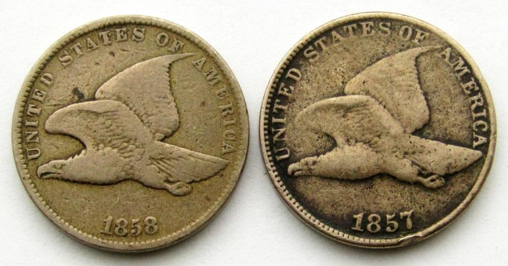 1857 & 1858 FLYING EAGLE CENTS VG/FINE