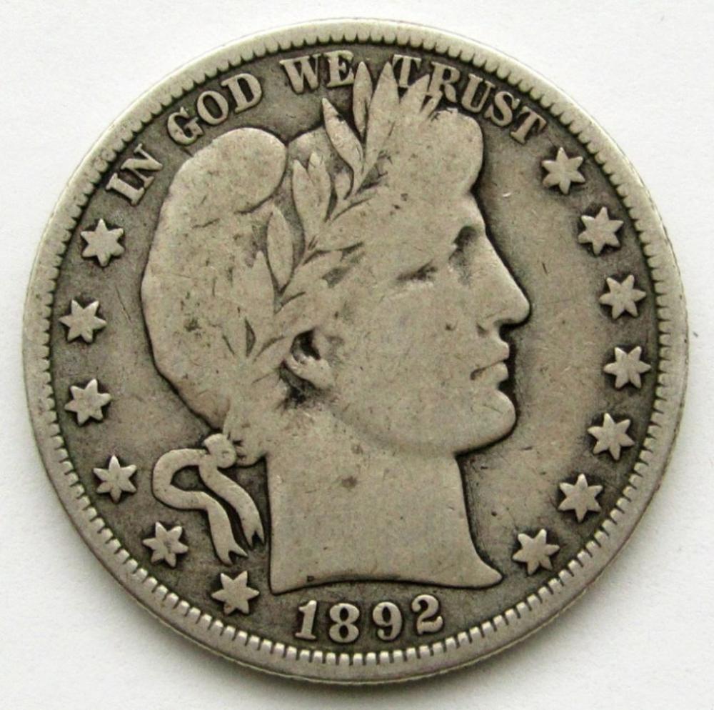 1892-O BARBER HALF DOLLAR GOOD/VG