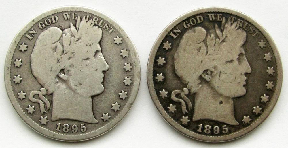 2-BARBER HALF DOLLARS: 1895-S & 1895