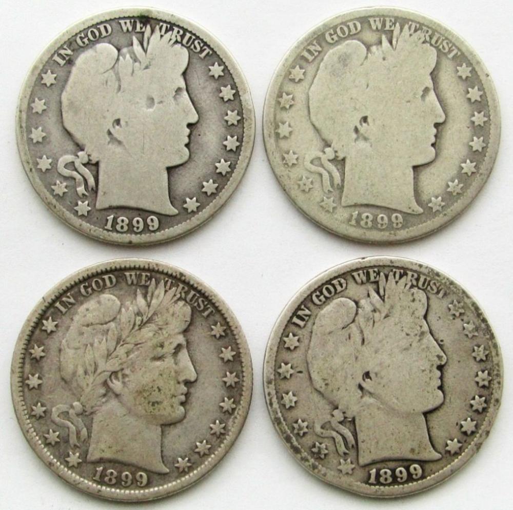 4-BARBER HALF DOLLARS: (2)1899 & (2)1890-O