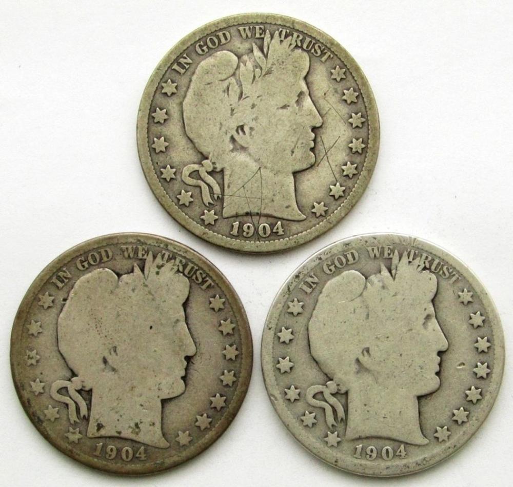 1904, 1904-S, 1904-O BARBER HALF DOLLARS