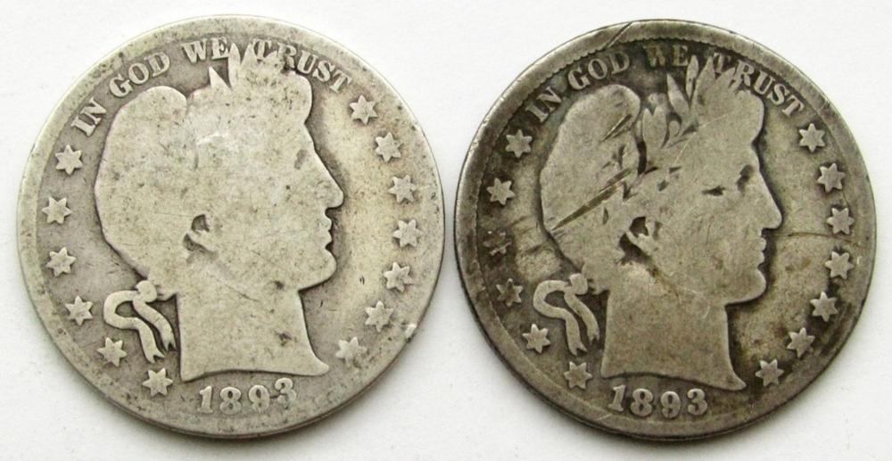 2-BARBER HALF DOLLARS: 1893-O & 1893 AG/G