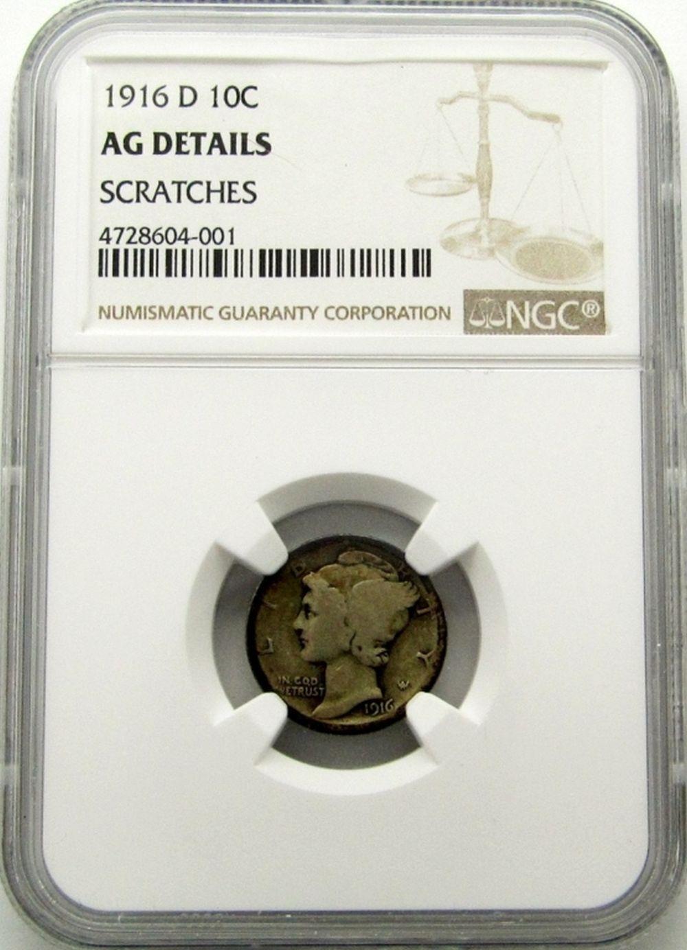 1916-D MERCURY DIME NGC AG DETAILS