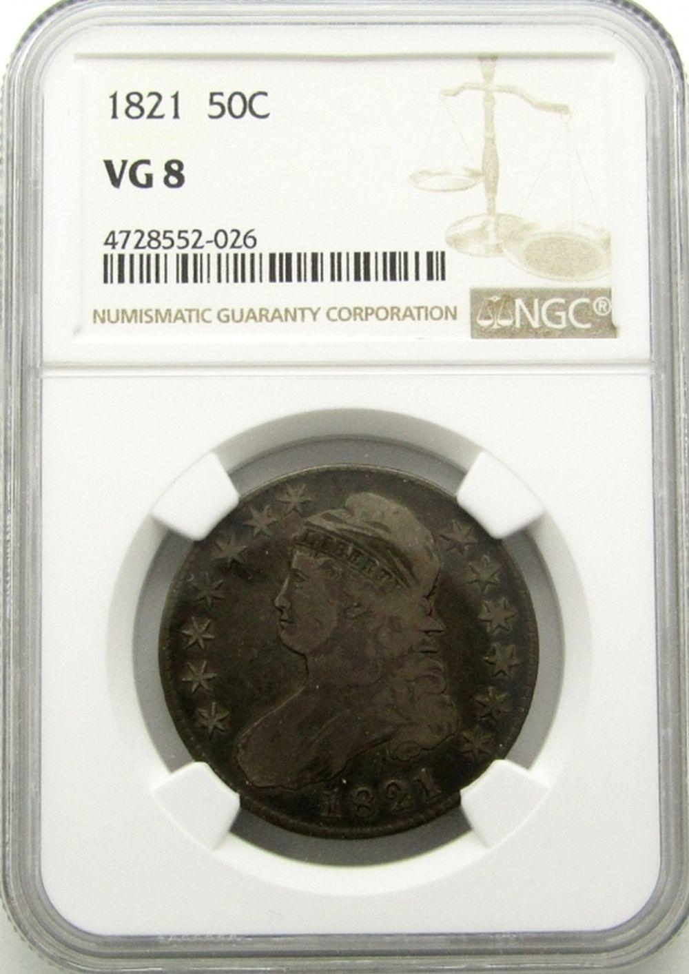 1821 BUST HALF DOLLAR NGC VG 8