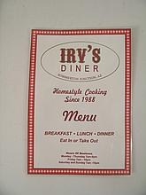 The Last Stand Irv's Diner Menu Movie Props