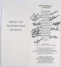 Irving Berlin Tribute Program With 12 Legendary Autographs
