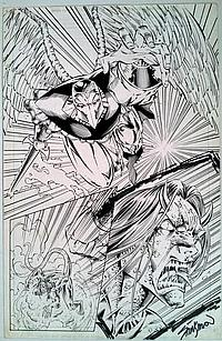 Avengelyne John Stinsman Original Signed Pencil Ink Drawing