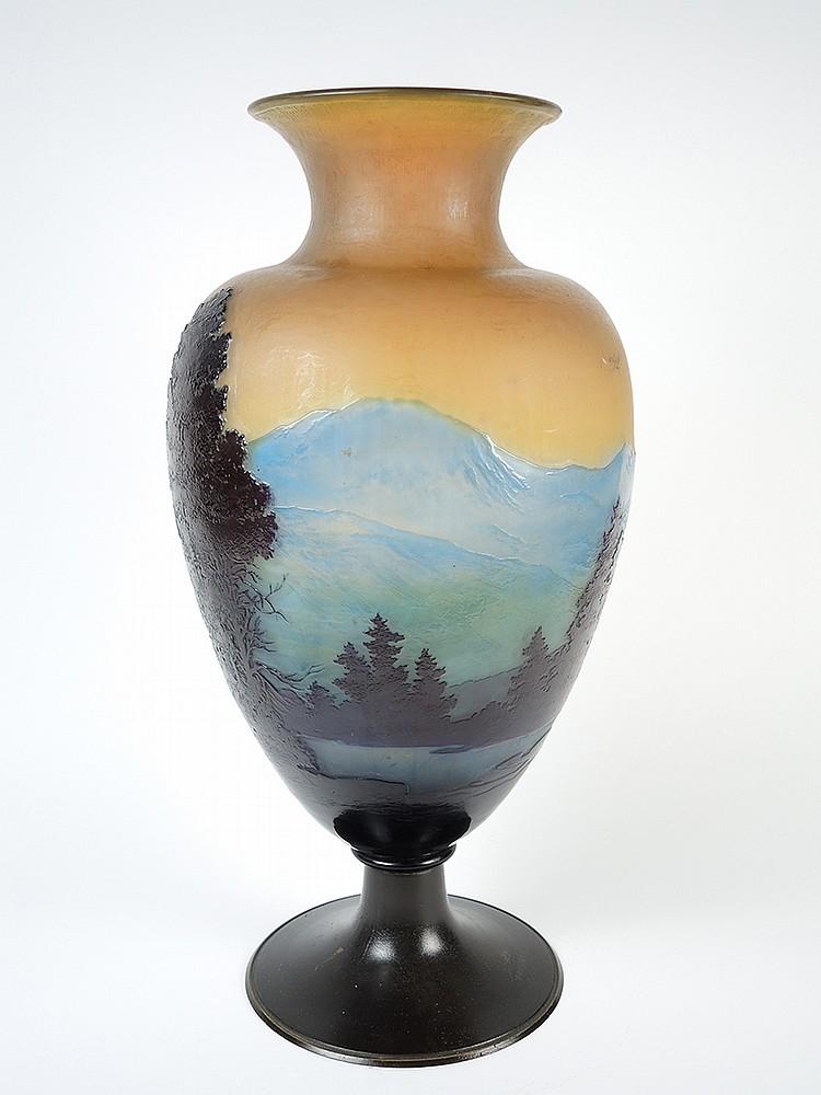 Galle grand vase en verre d cor grav en cam e l 39 acide for Decoration vase en verre