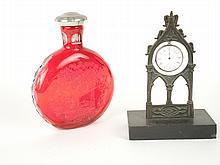Porte-montre de style gothique en bronze, (106) On y joint un flacon en cristal rouge de St Louis orné d'une scène cynégétique bouchon en étain