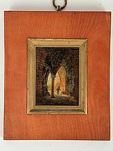 A.GIROUX. Fixé sous verre début XIXe 'Personnages dans des ruines'. Dim. 7 x 5.5 cm (étiquette de la maison Giroux au dos)