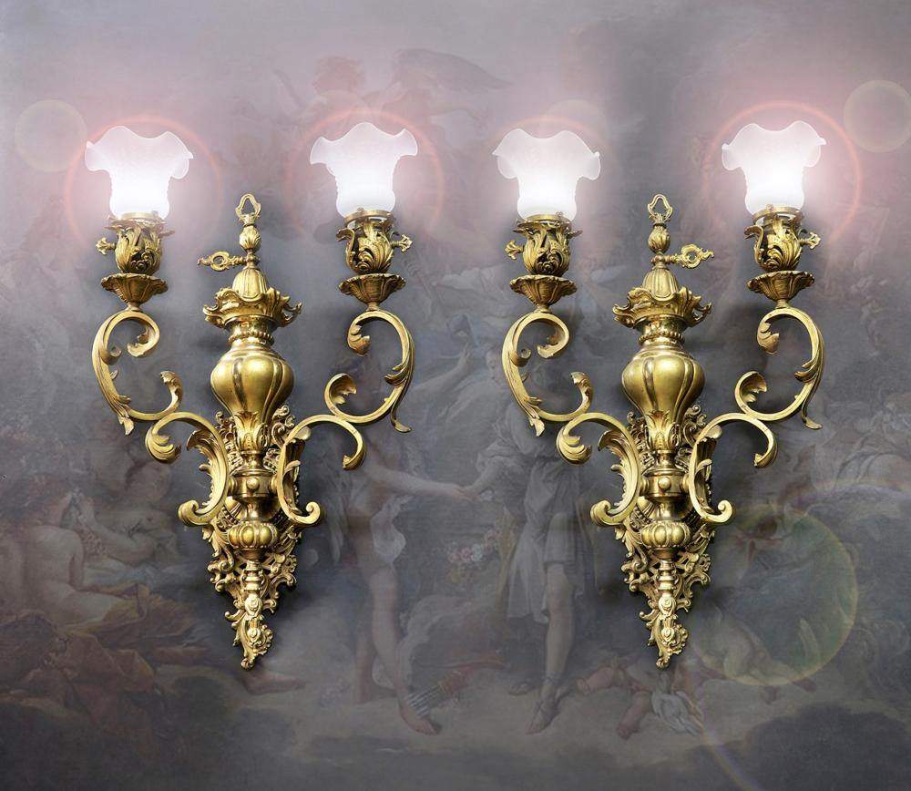 19th C. Large Pair Of French Bronze Wall Sconces 4- Light