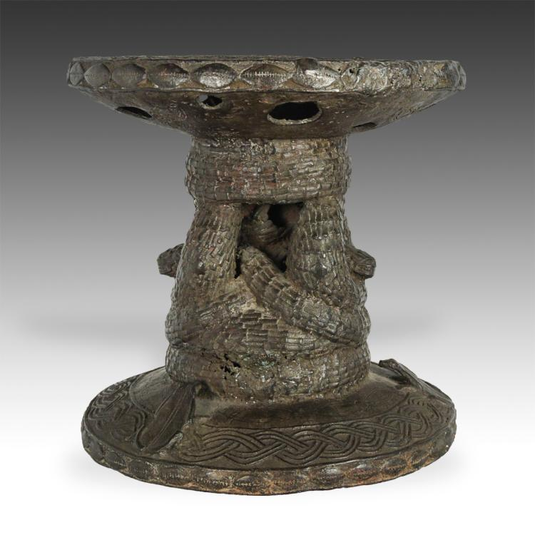 Stool with Snake and Frog Motifs