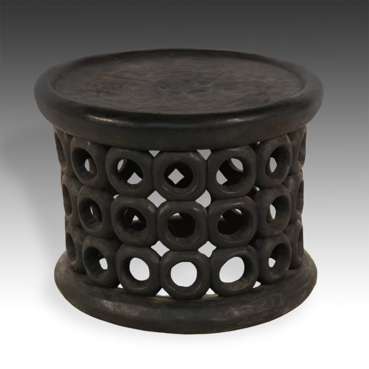 Stool or Side Table with Circle Motif