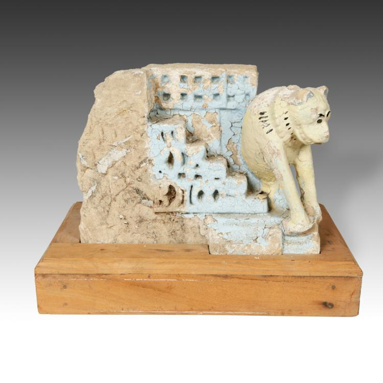 Temple Fragment with Feline Motif, Based
