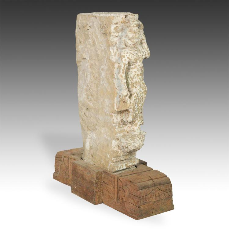 Temple Fragment with Figure, Based